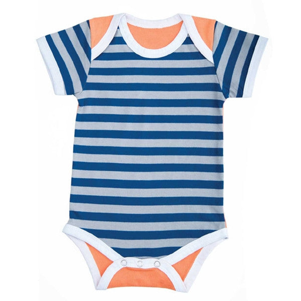 FARM BUDDIES - Robbie Raccoon - Blue Stripes / Orange - Onesie (3-6M)