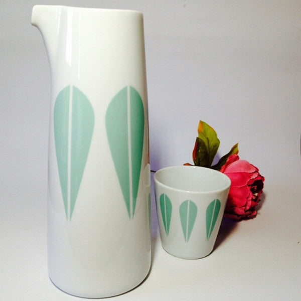 Lucie Kaas Pitcher With Mint Green Lotus Pattern