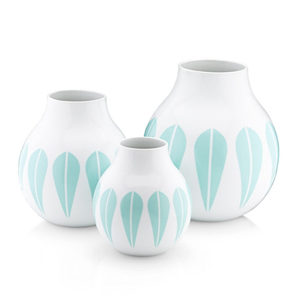 Lucie Kaas Vase, Porcelain, Mint Green Lotus Pattern Small