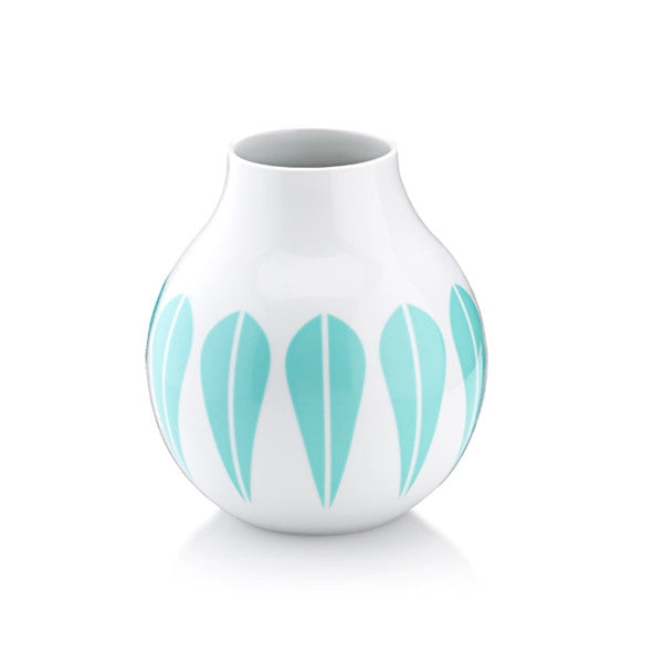 Lucie Kaas - Vase, Porcelain, Mint Green Lotus Pattern Small