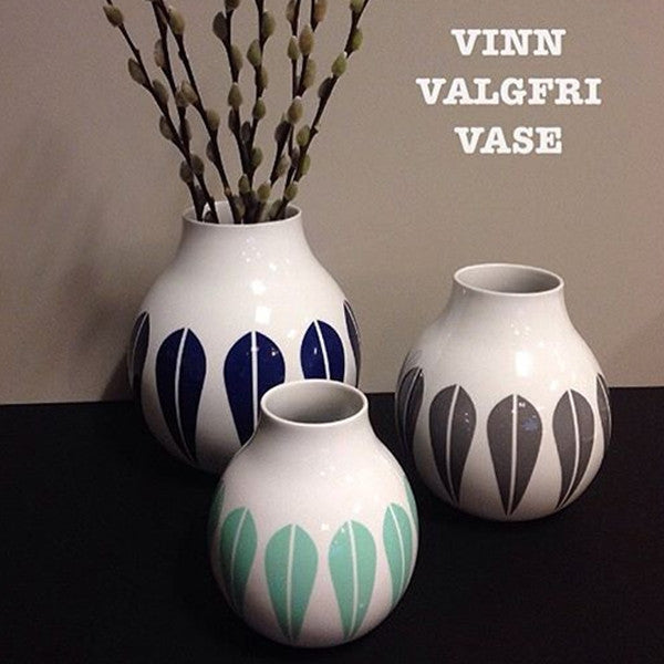 Lucie Kaas Vase, Porcelain, Grey Lotus Pattern Medium