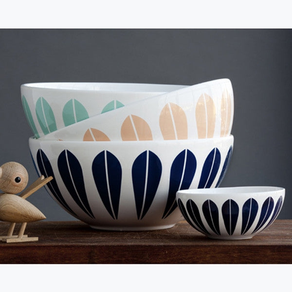 Lucie Kaas White Ceramic Bowl With Dark Blue Lotus Pattern Small