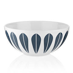Lucie Kaas - White Ceramic Bowl With Dark Blue Lotus Pattern Small