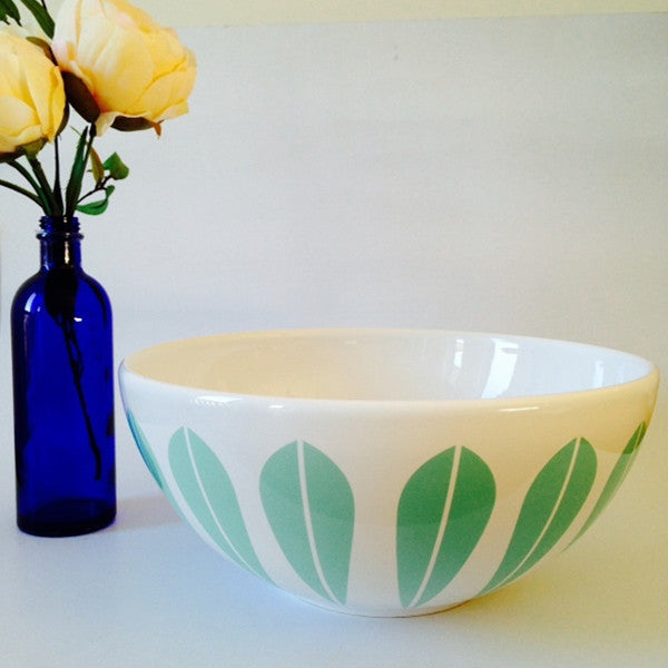 Lucie Kaas White Ceramic Bowl With Mint Green Lotus Pattern Small