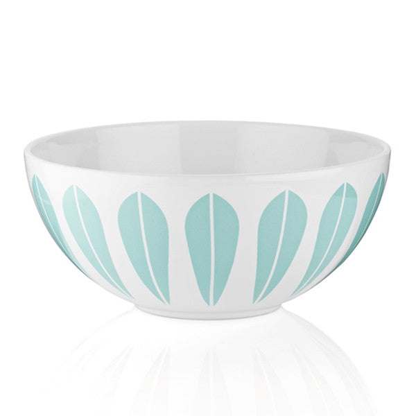 Lucie Kaas - White Ceramic Bowl With Mint Green Lotus Pattern Small