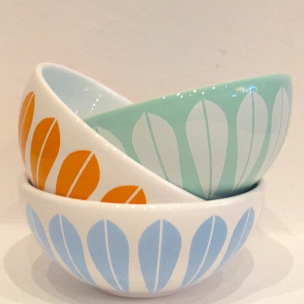 Lucie Kaas White Ceramic Bowl With Light Blue Lotus Pattern Small