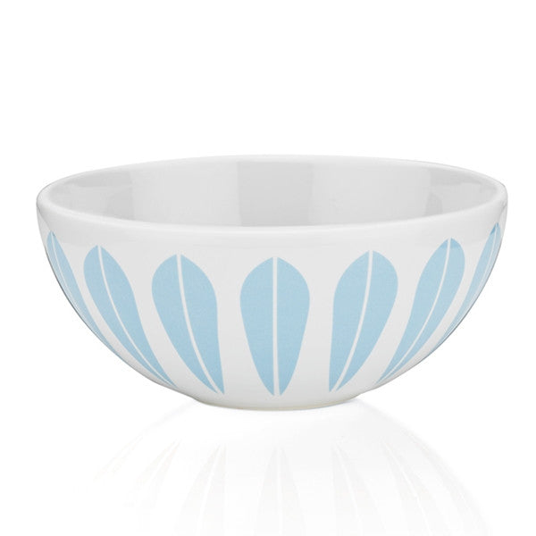 Lucie Kaas - White Ceramic Bowl With Light Blue Lotus Pattern Small