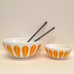Lucie Kaas White Ceramic Bowl With Orange Lotus Pattern Large