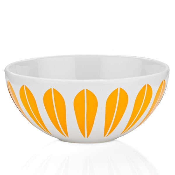 Lucie Kaas - White Ceramic Bowl With Orange Lotus Pattern Medium