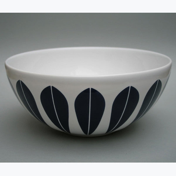 Lucie Kaas White Ceramic Bowl With Grey Lotus Pattern Medium