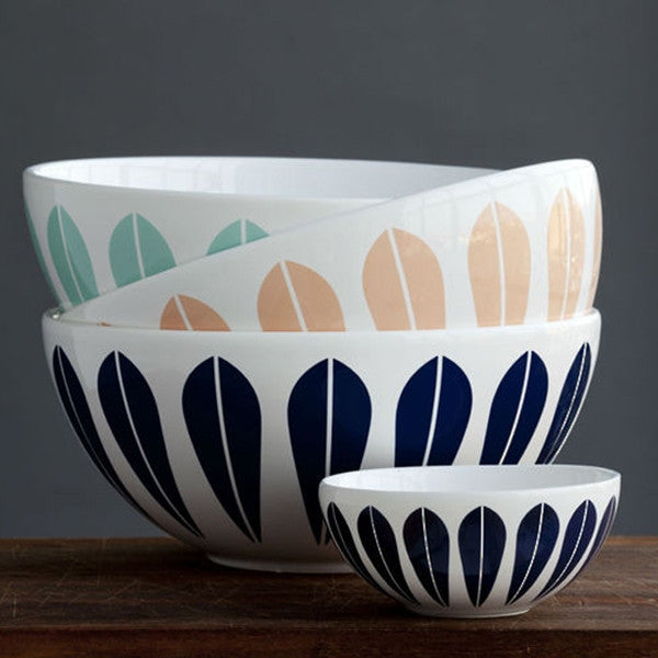 Lucie Kaas White Ceramic Bowl With Dark Blue Lotus Pattern Large