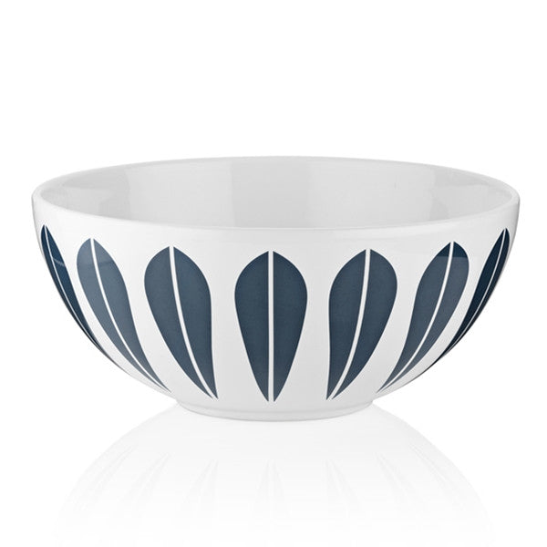 Lucie Kaas - White Ceramic Bowl With Dark Blue Lotus Pattern Large