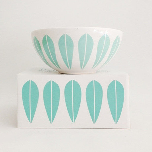 Lucie Kaas White Ceramic Bowl With Mint Green Lotus Pattern Large