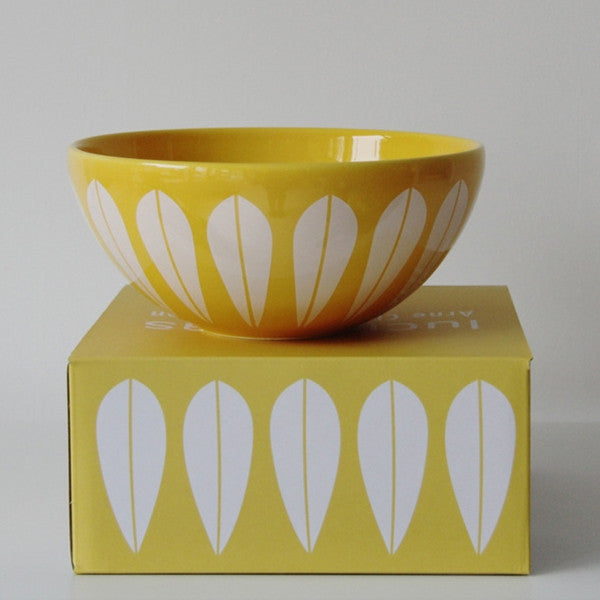 Lucie Kaas Yellow Ceramic Bowl With White Lotus Pattern Medium