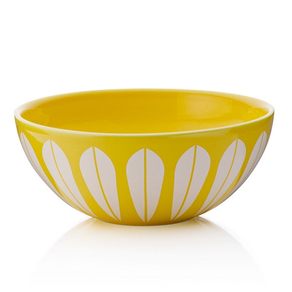 Lucie Kaas - Yellow Ceramic Bowl With White Lotus Pattern Medium