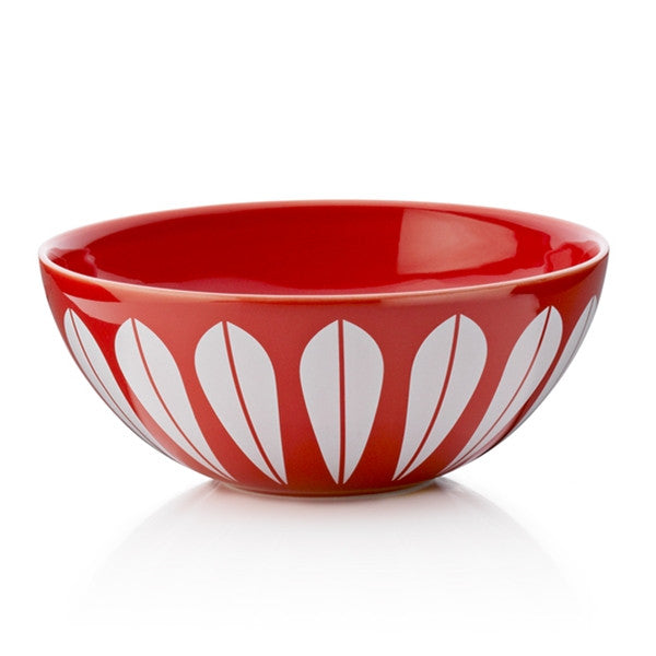 Lucie Kaas - Red Ceramic Bowl With White Lotus Pattern Large