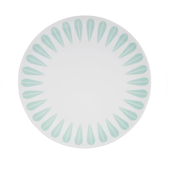 Lucie Kaas - Porcelain Plate With Mint Green Lotus Pattern Small