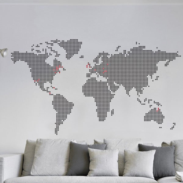 ADzif Wall Sticker Around The Globe Black