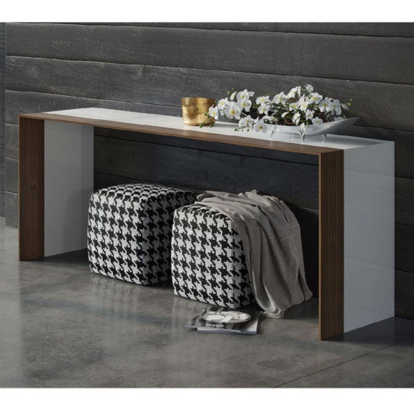 Modloft Beckenham Console - White Lacquer and Walnut