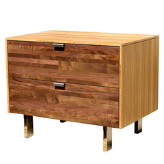 Iannone Green Mod Wood Stripe Night Stand