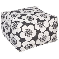 Aimée Wilder Pop Floral Charcoal Pouf