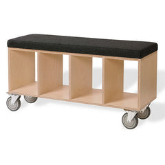 OFFI Birch Bench Box with Pad Grey Wool