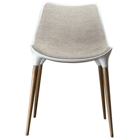 Modloft Langham Dining Chair Fabric Oatmeal on Teak