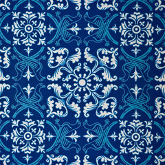 French American Wallpaper - Avian Flew Pigeon Bohème Twilight Blue and White