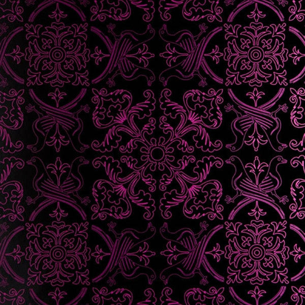 French American Wallpaper - Avian Flew Pigeon Bohème Fuschia and Black