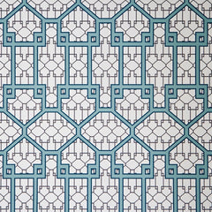 French American Wallpaper - Chinauseam China Gate Macao Blue On White