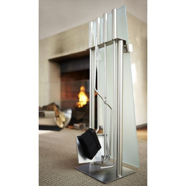 Blomus CHIMO Fireplace Set 5 pcs., Frosted Glass Front Matt