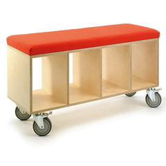 OFFI Birch Bench Box with Pad Red Wool
