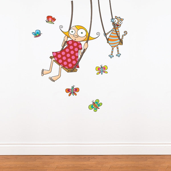 ADzif Wall Sticker Swing Girl