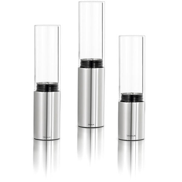 Blomus FARO Small Stainless Steel Clear Glass Hurricane (Set Of 3) - Polished