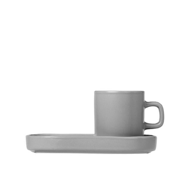 Blomus MIO Mirage Grey Espresso Cups With Trays Set of 2