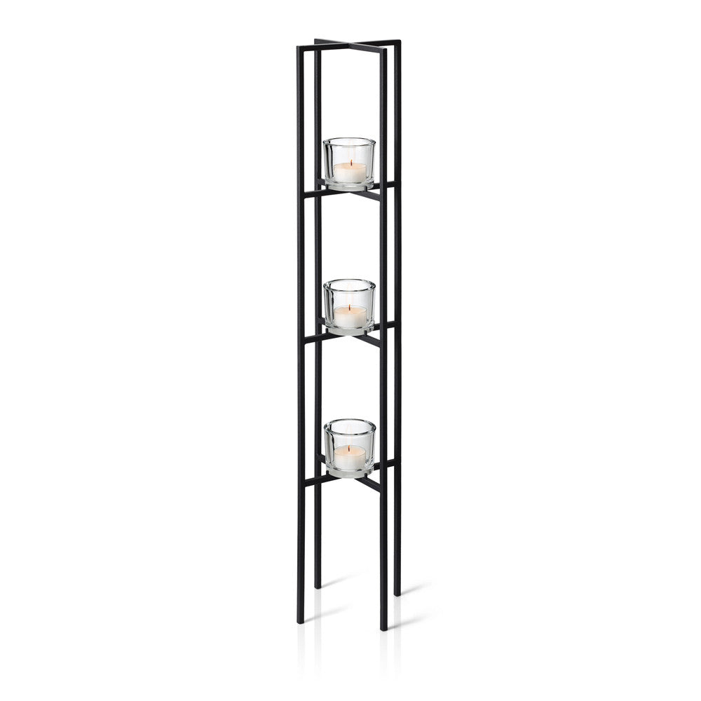 Blomus NERO Freestanding Sculpture Candle Holder, 3 Tier
