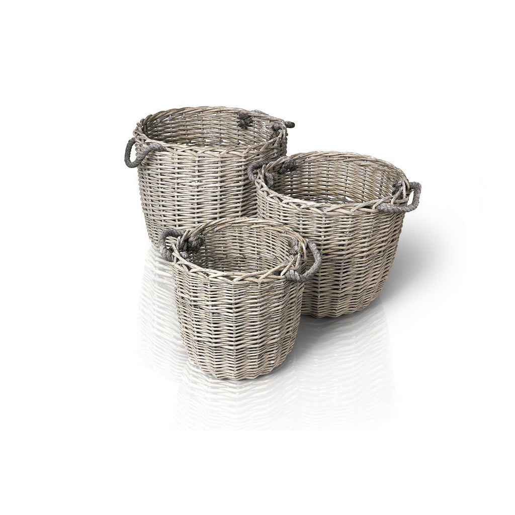 Blomus CANASTO Round Baskets Set of 3 Peeled Willow