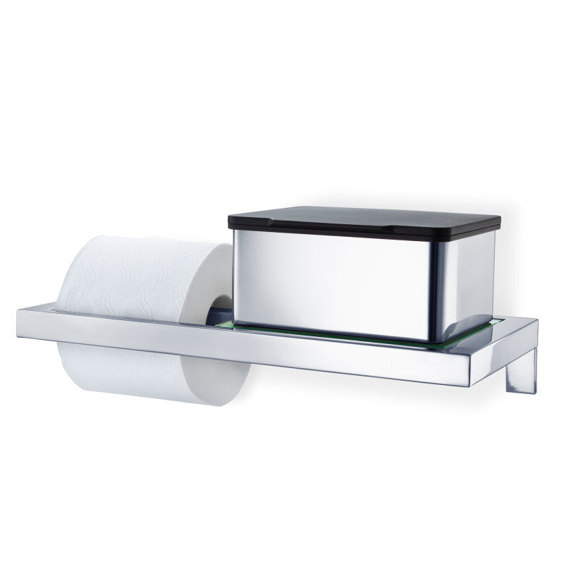Blomus MENOTO Wall Mounted Toilet Paper Holder With Glass Shelf Polished