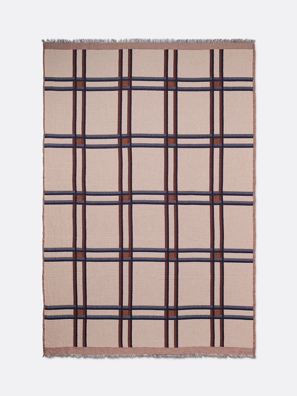 ferm LIVING Checked Wool Blend Blanket Beige