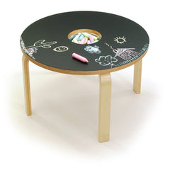 OFFI Woody Chalkboard Table - Black with Stainless bowl