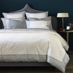 DwellStudio Duvet Cover Blockprint Border Marine Full/Queen
