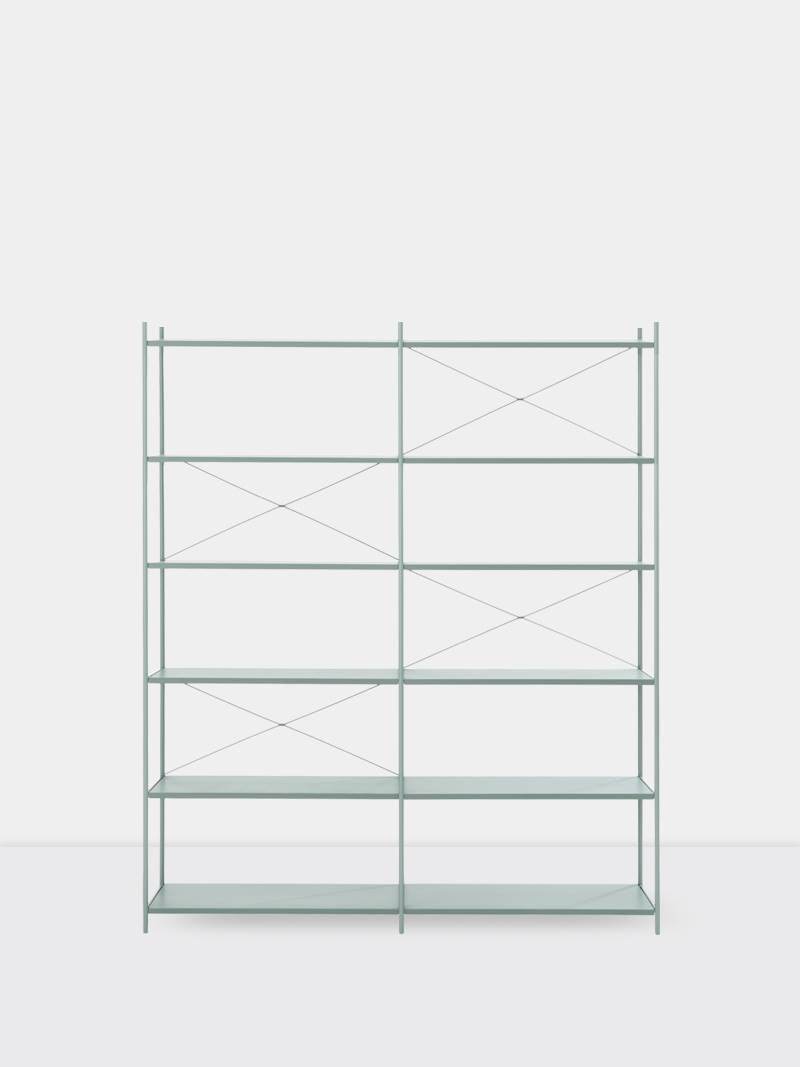 ferm LIVING Punctual Shelving System Dusty Blue 2x6