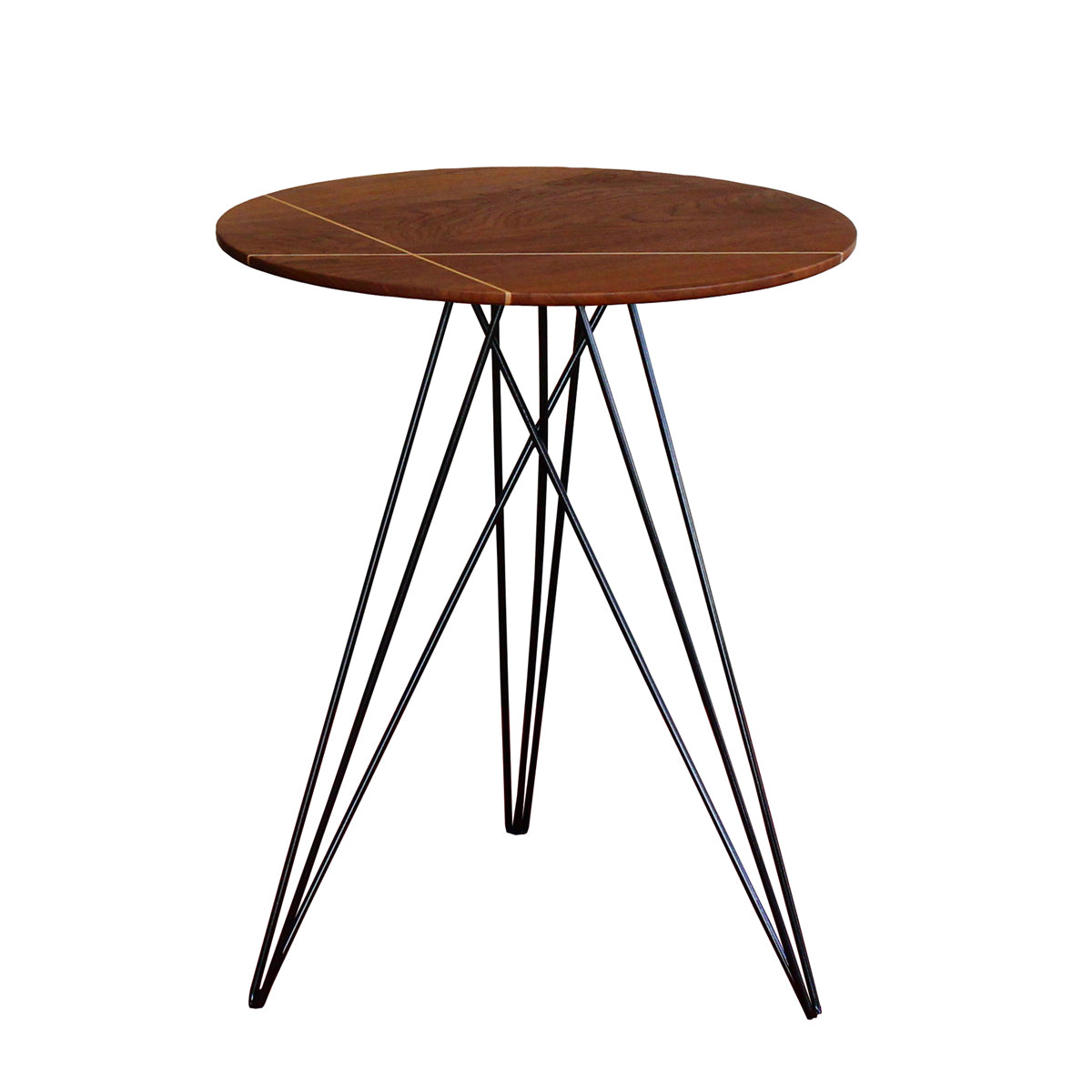 Tronk Design Hudson Side Table with Inlay Walnut