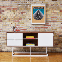 Gus* Modern Emerson Media Stand Walnut White