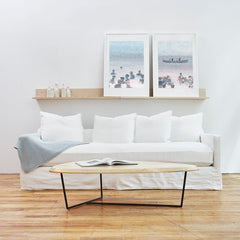 Gus* Modern Carmel Sofa Washed Denim White
