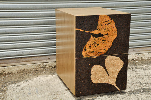 Iannone Cork Filing Pedestal Cabinet Gingko Leaf Graphic