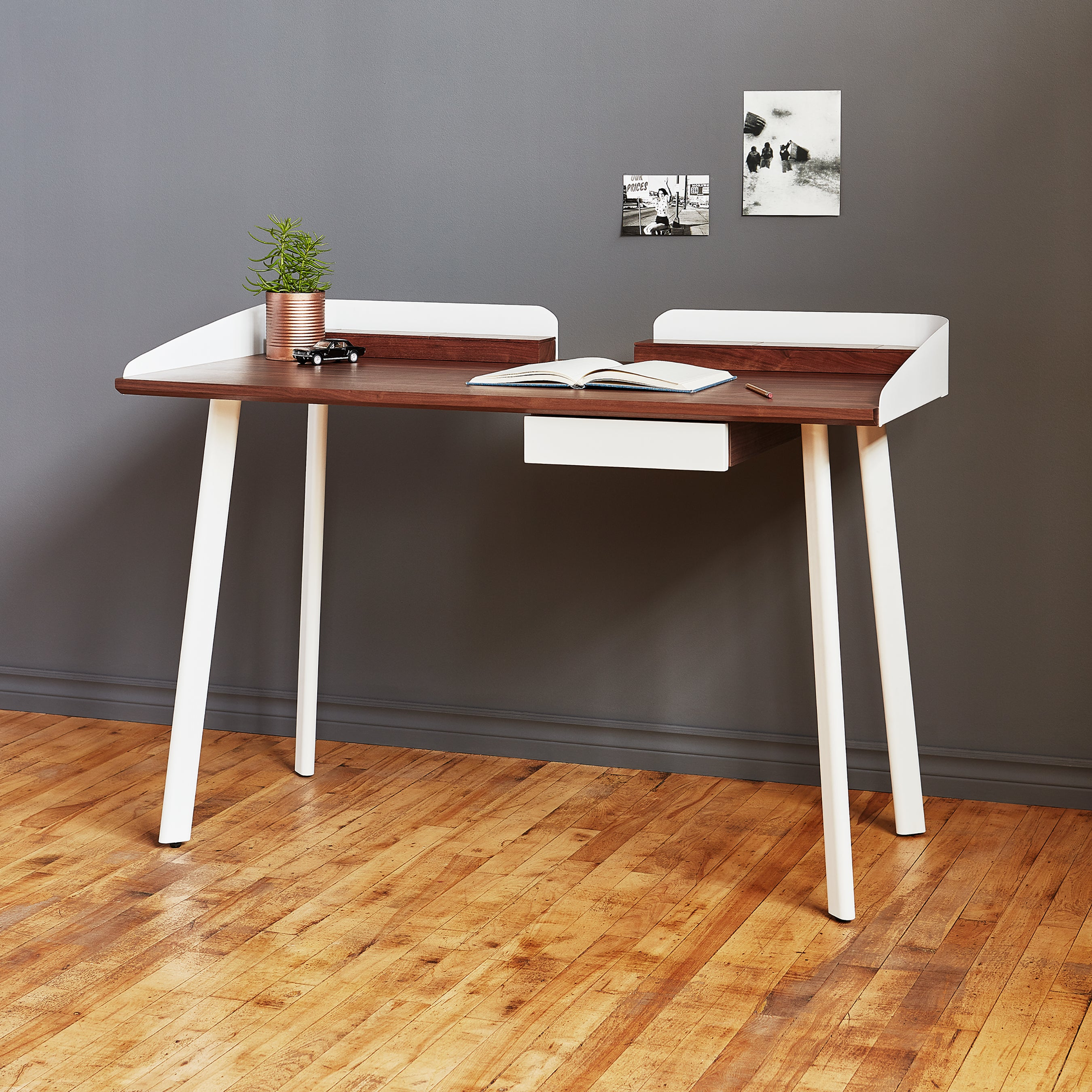Gus* Modern Gander Desk - Walnut White
