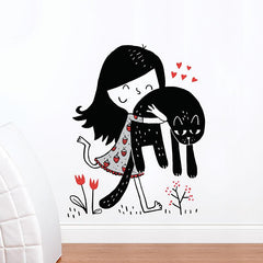 Adzif Wall Sticker Little Girl & Cat