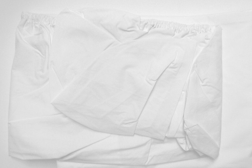 Area Bedding PLEAT White Organic Fitted Sheet Full