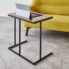 Gus* Modern Tobias Network Table Walnut with Black Powder Coat